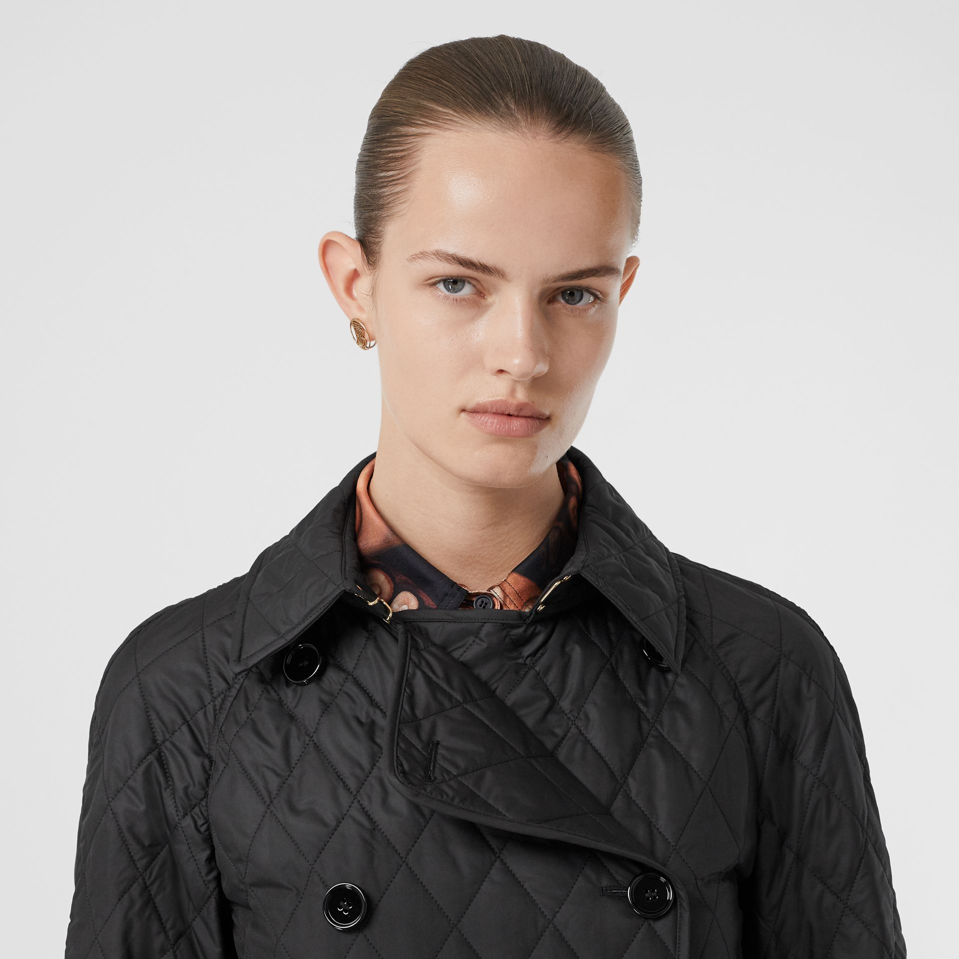 Diamond Quilted Double-breasted Coat in Black - Women | Burberry United Kingdom - gallery image 1