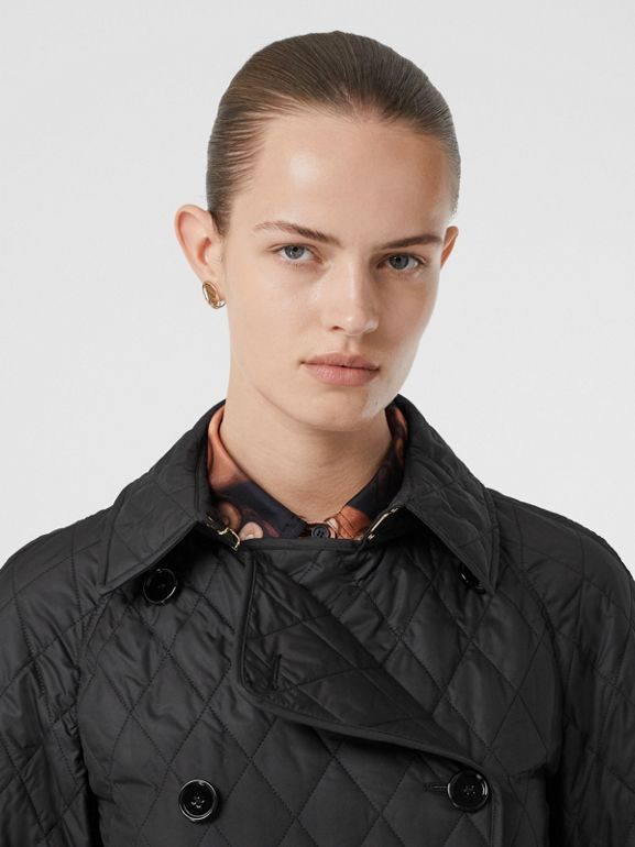 Diamond Quilted Double-breasted Coat in Black - Women | Burberry - cell image 1