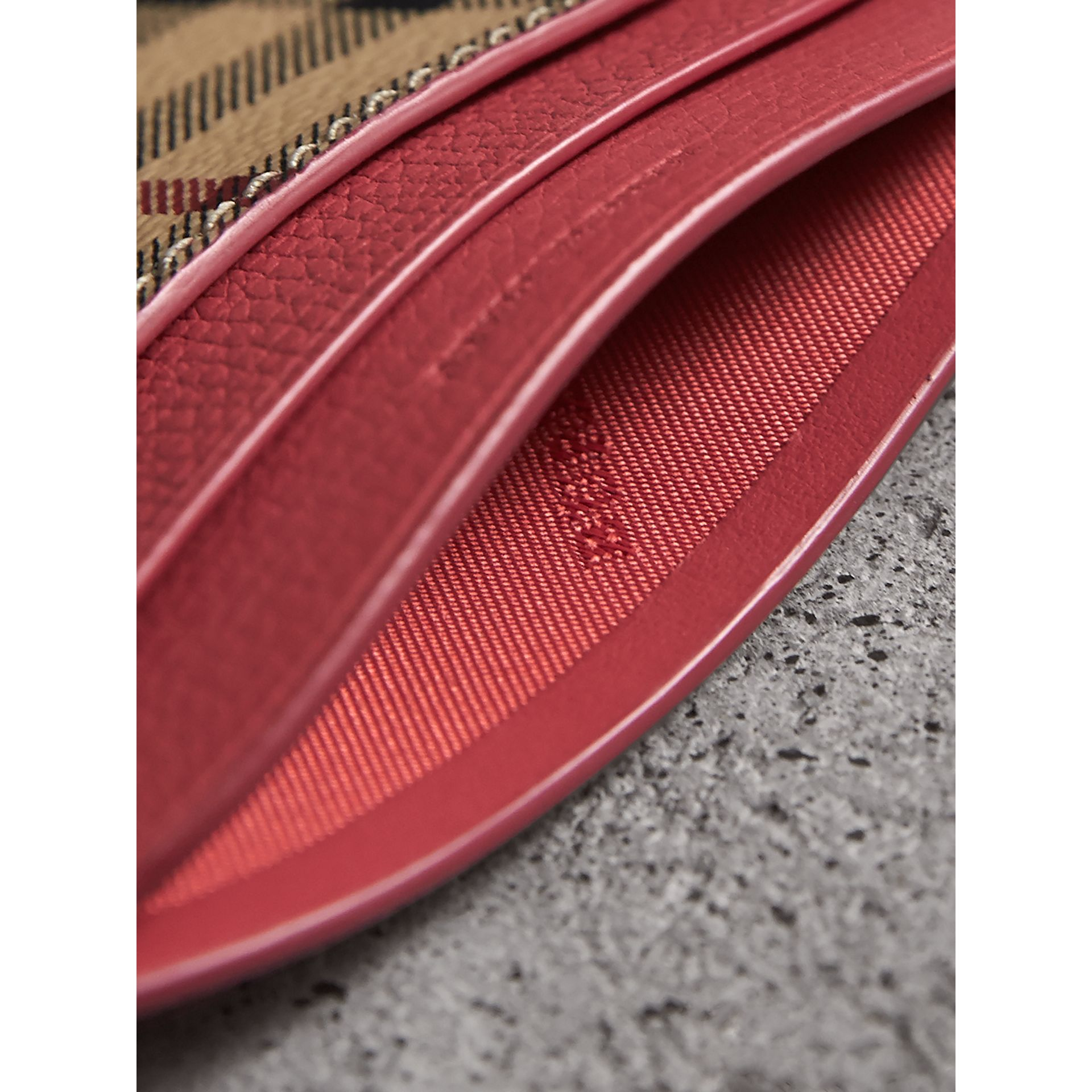 Haymarket Check and Leather Card Case in Coral Red - Women | Burberry - gallery image 3