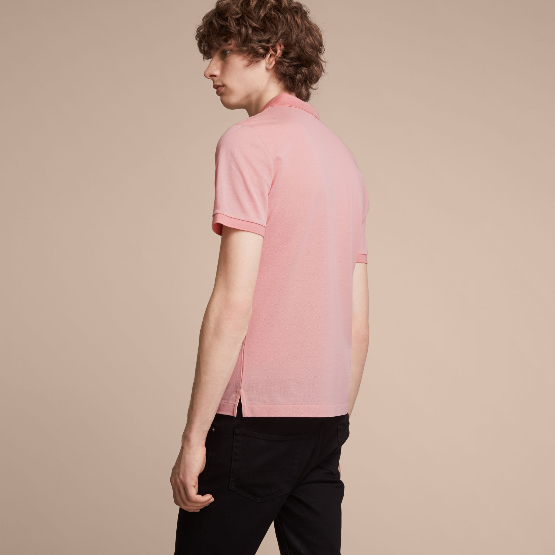Cotton Piqué Polo Shirt in Chalk Pink - Men | Burberry - gallery image 3
