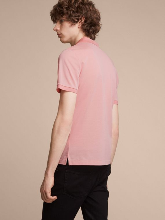 Cotton Piqué Polo Shirt in Chalk Pink - Men | Burberry - cell image 2