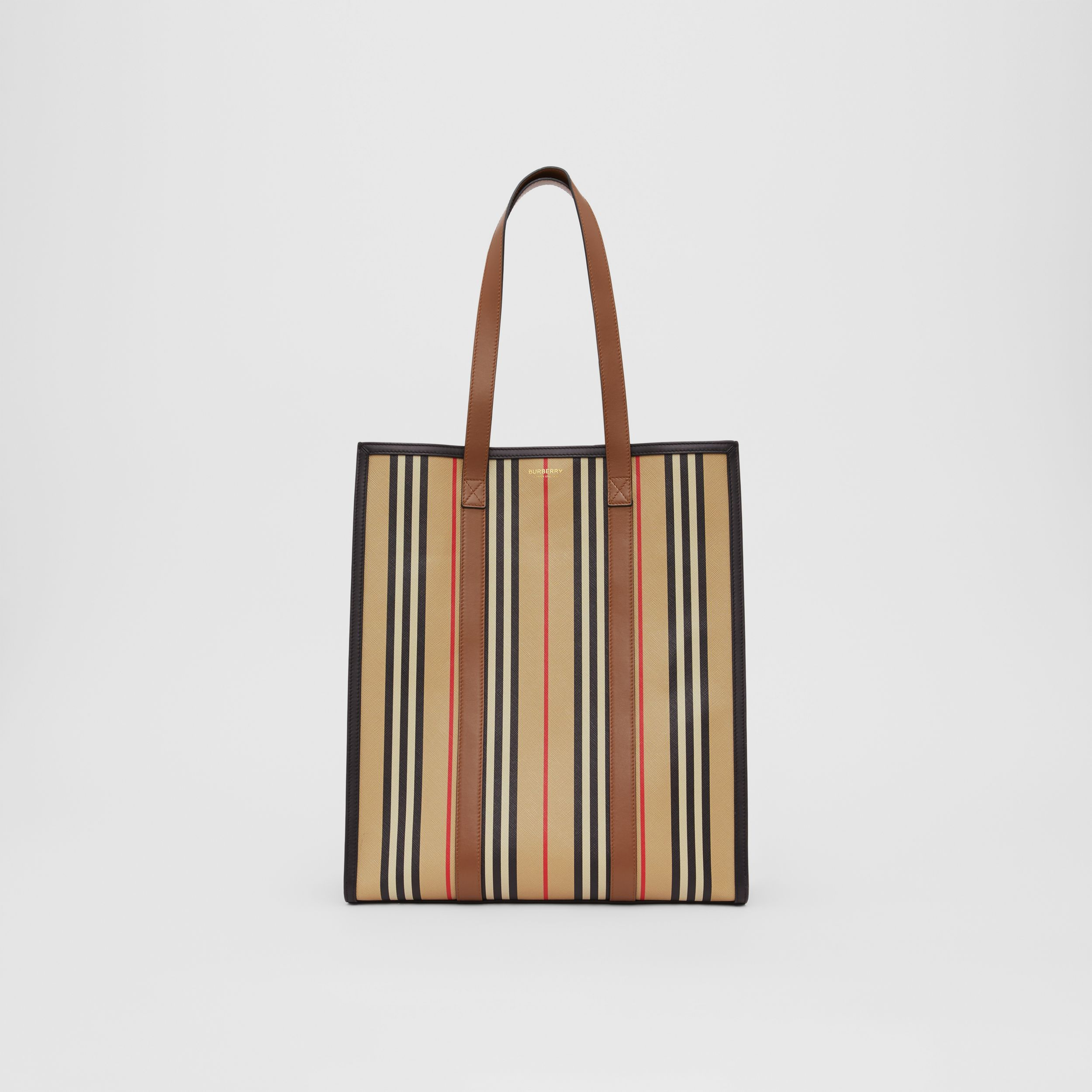 Icon Stripe E-canvas Portrait Tote Bag in Archive Beige | Burberry - 1