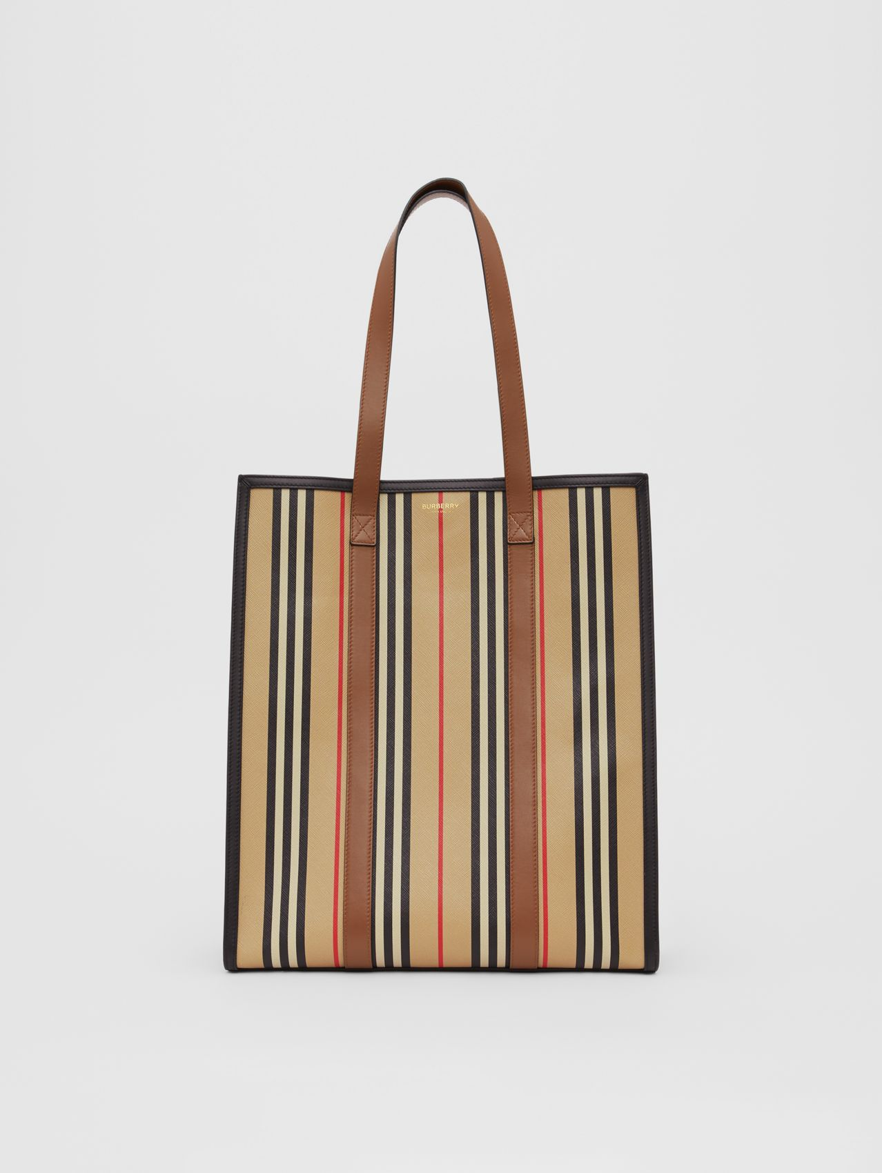 Icon Stripe E-canvas Portrait Tote Bag in Archive Beige