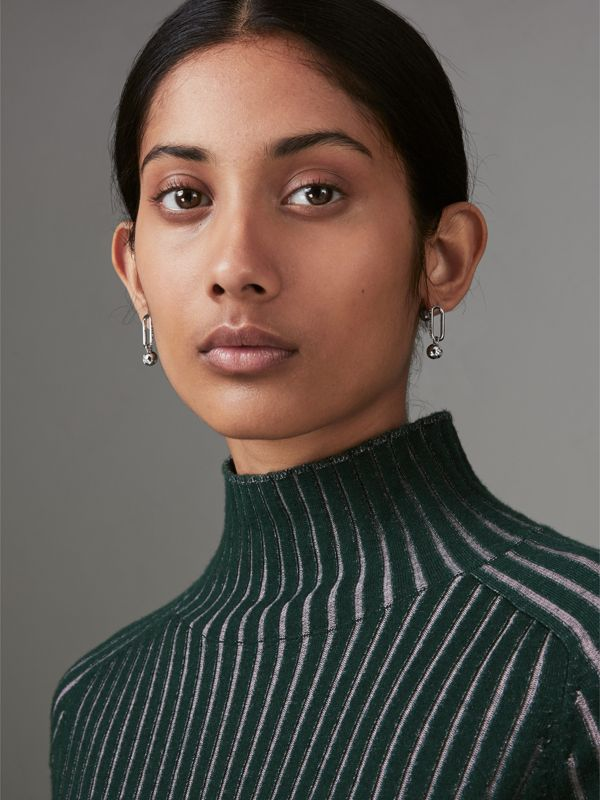 Crystal Charm Palladium-plated Drop Earrings in Palladio/crystal - Women | Burberry United Kingdom - cell image 2