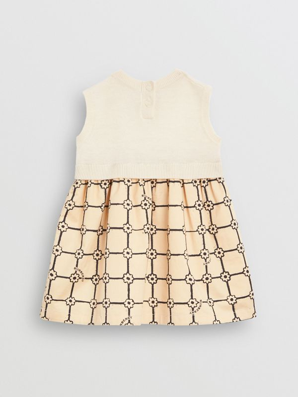 Knit Cashmere and Flower Print Cotton Dress in Ivory - Children | Burberry - cell image 3