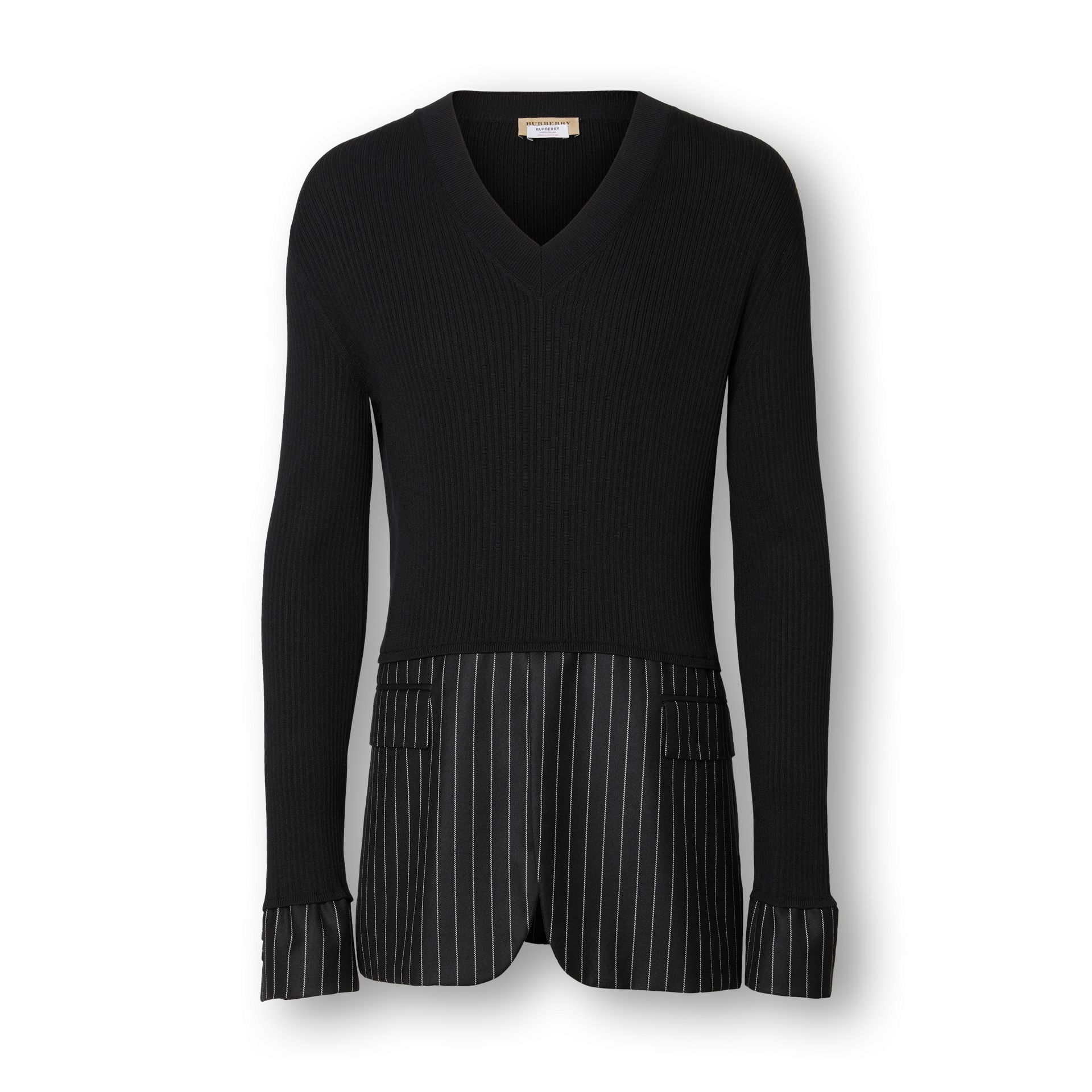 Tailored Panel Rib Knit Silk Blend Sweater in Black | Burberry Australia - gallery image 3