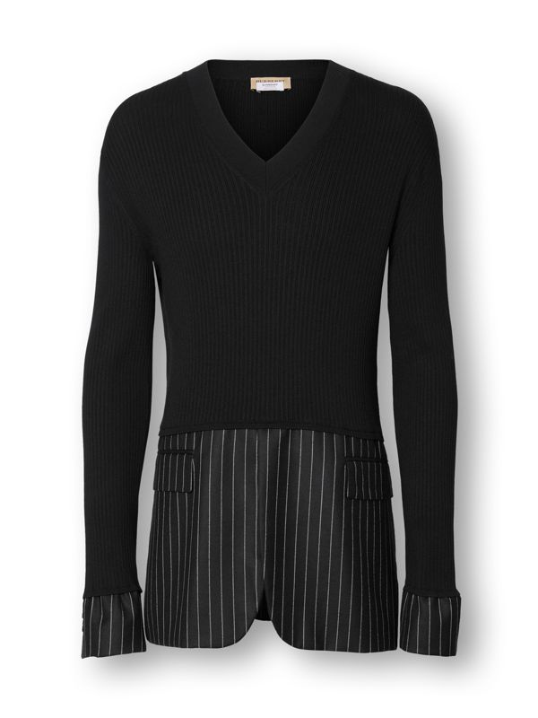 Tailored Panel Rib Knit Silk Blend Sweater in Black | Burberry - cell image 3