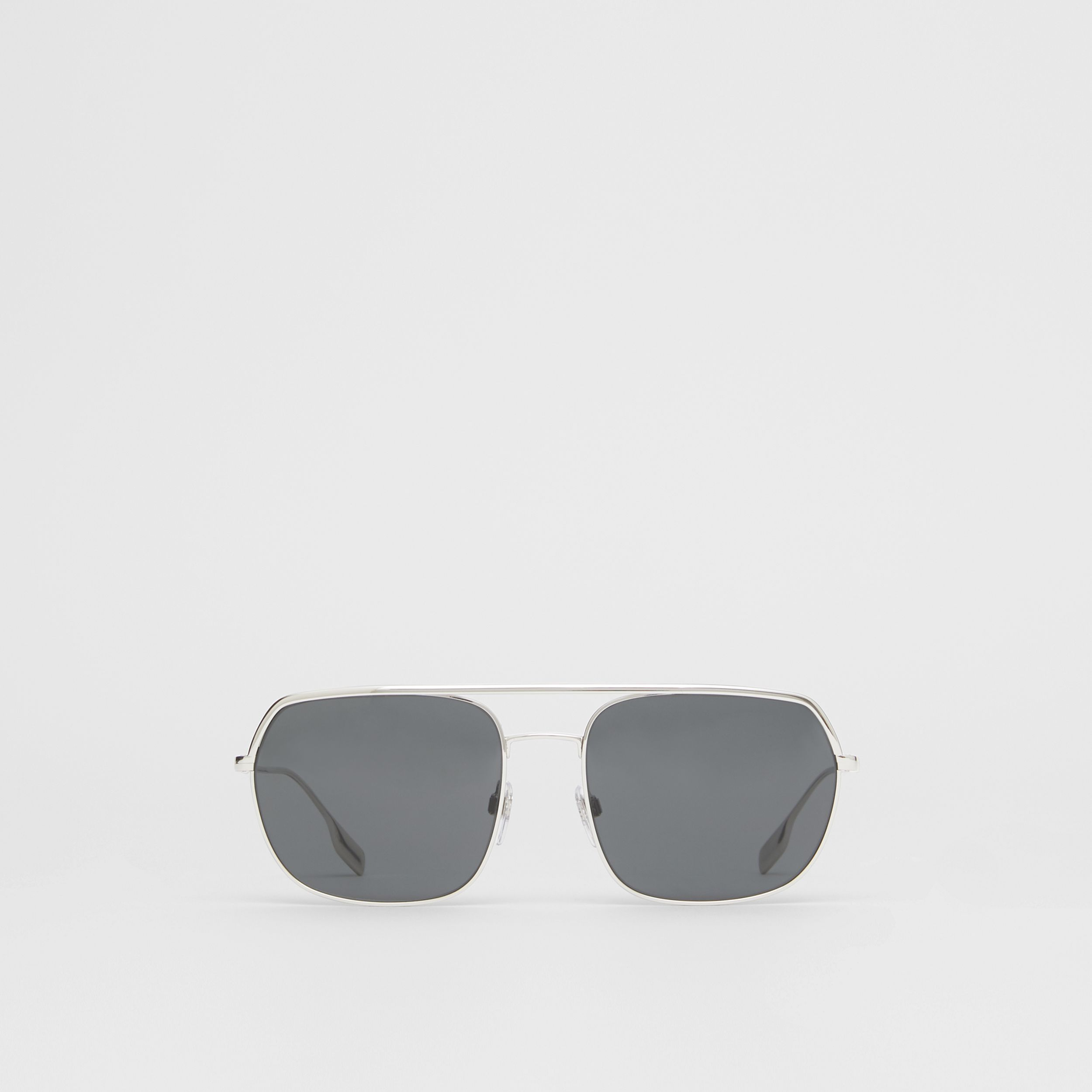 Square Pilot Sunglasses in Silver - Men | Burberry - 1
