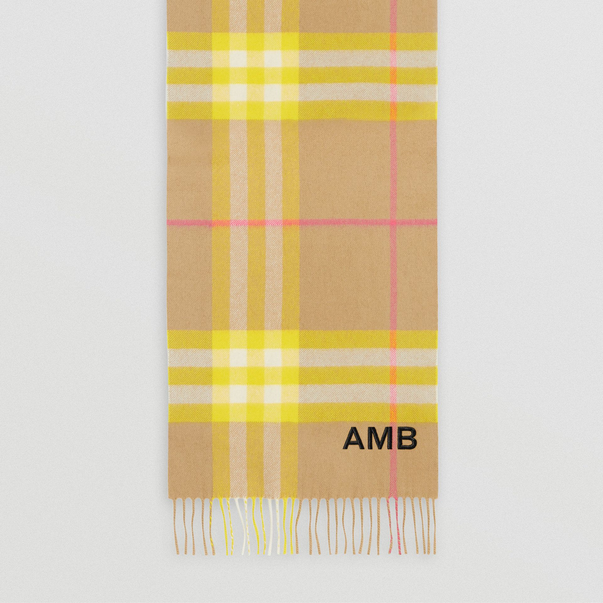 The Classic Check Cashmere Scarf in Archive Beige/yellow | Burberry Canada - gallery image 8