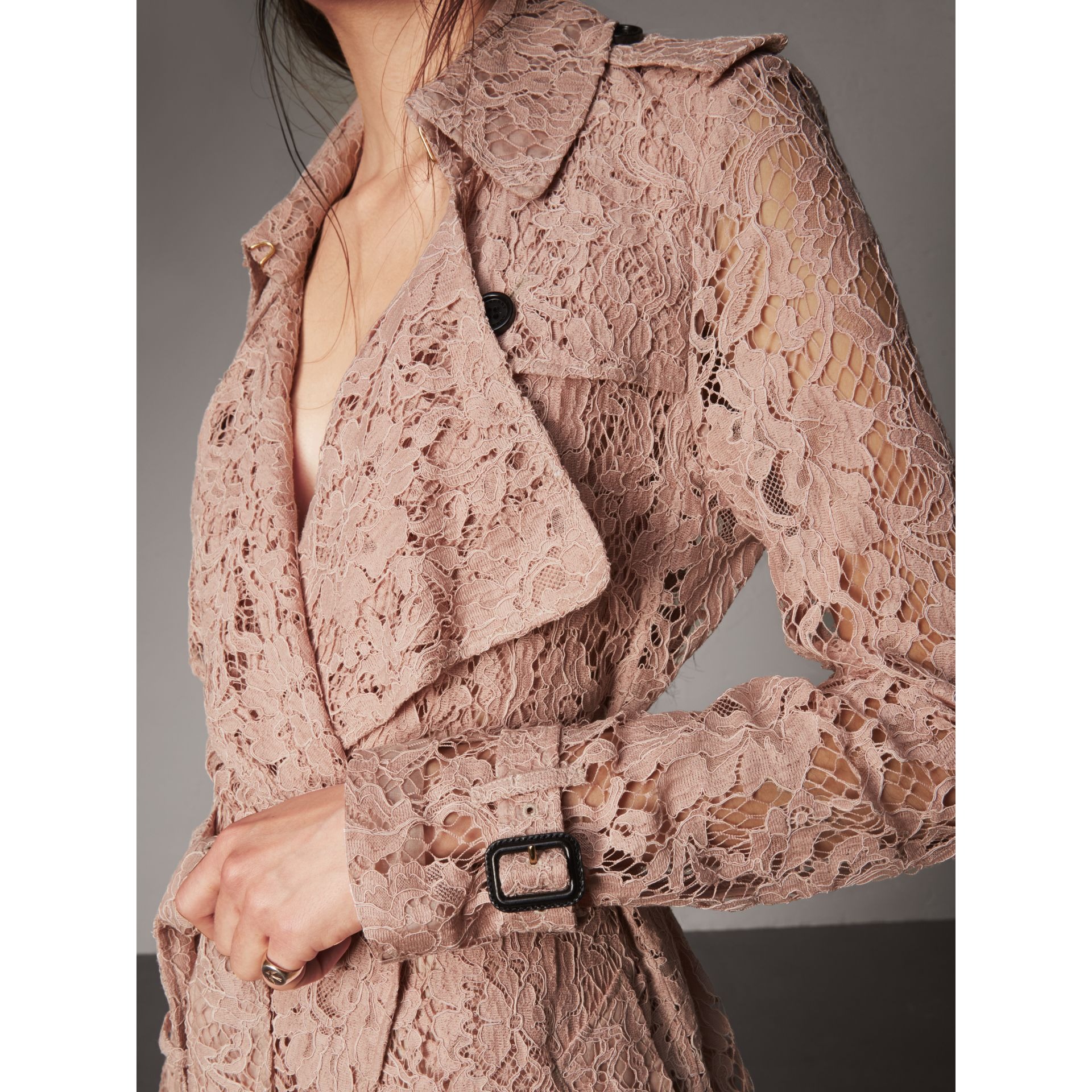 Macramé Lace Trench Coat in Pale Pink - Women | Burberry - gallery image 2