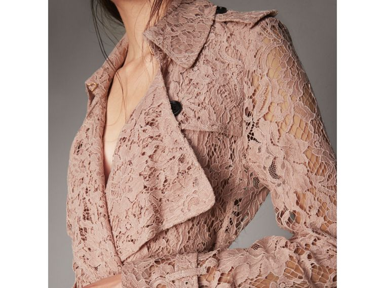 Macramé Lace Trench Coat in Pale Pink - Women | Burberry Singapore - cell image 1