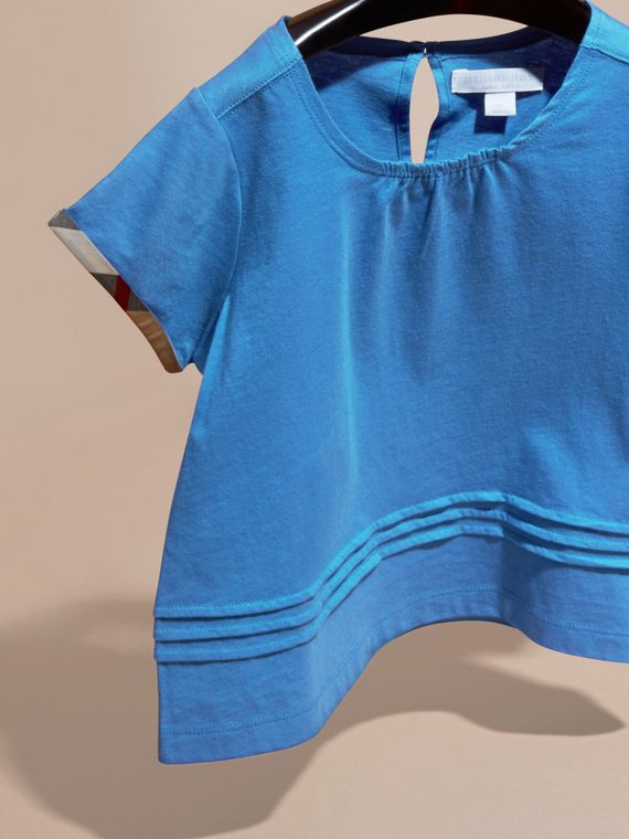 Bright hydrangea blue Pleat Detail Check Cotton T-Shirt Bright Hydrangea Blue - cell image 2