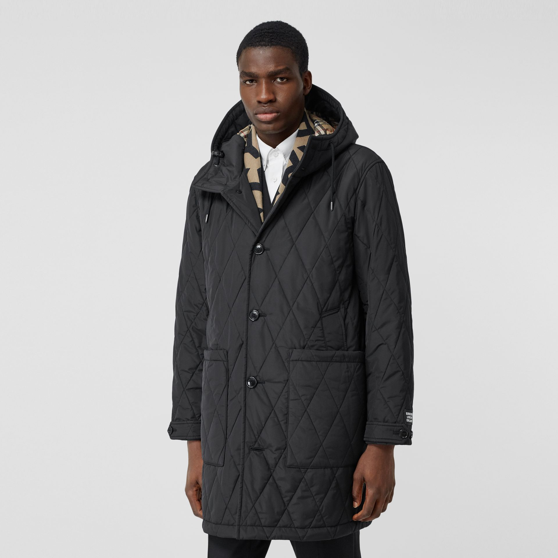 Diamond Quilted Thermoregulated ECONYL® Coat in Black - Men | Burberry United Kingdom - gallery image 6