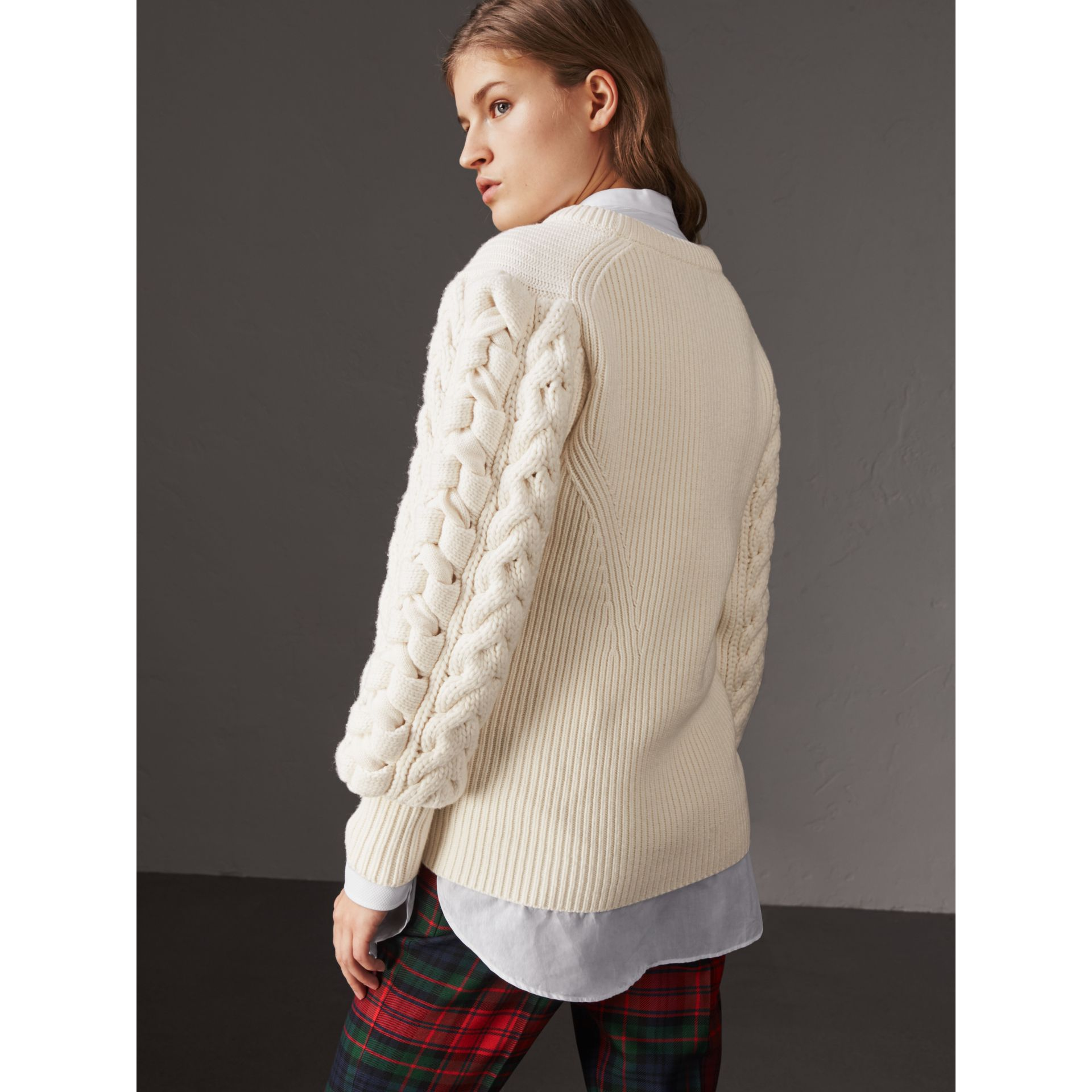 Cable Knit Wool Cashmere Sweater in Natural White - Women | Burberry Singapore - gallery image 3