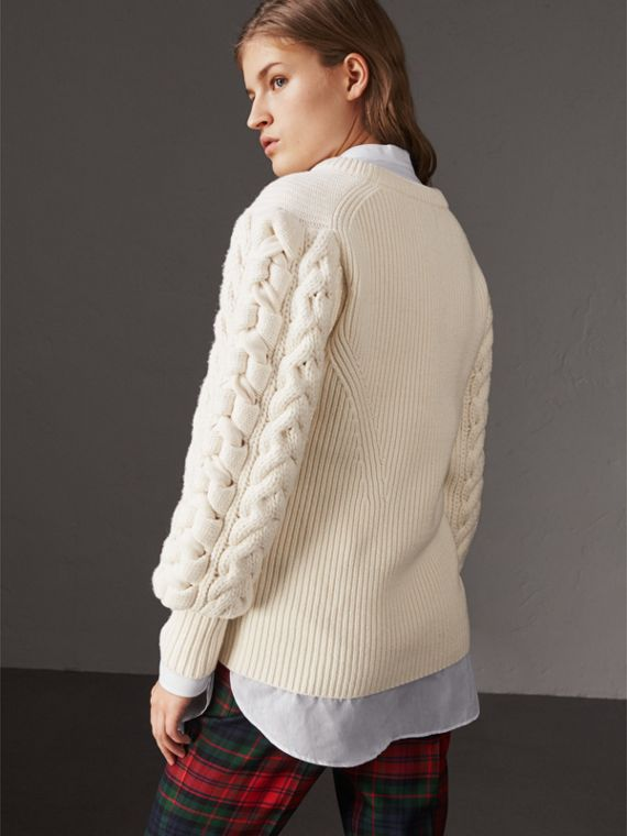 Cable Knit Wool Cashmere Sweater in Natural White - Women | Burberry Singapore - cell image 2