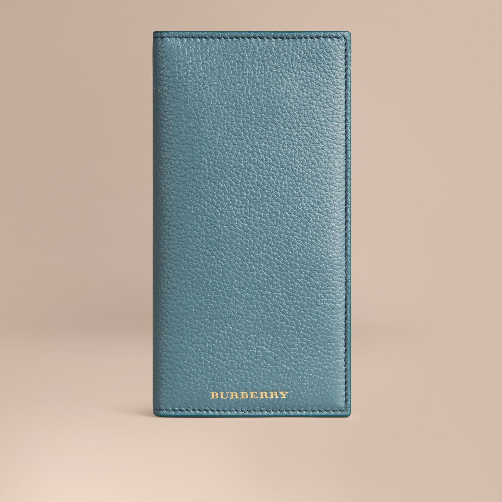 Grainy Leather Travel Card Case in Dusty Teal - gallery image 1