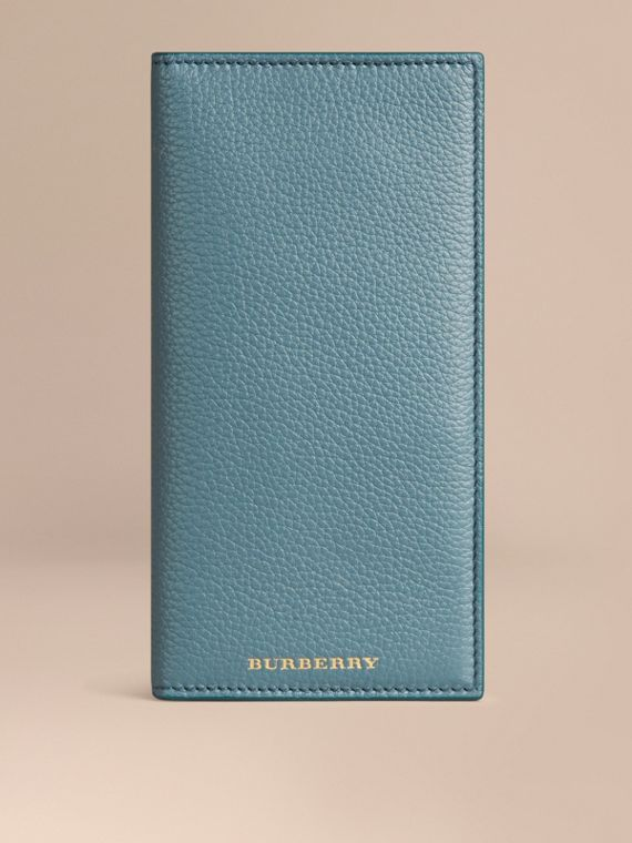 Grainy Leather Travel Card Case in Dusty Teal