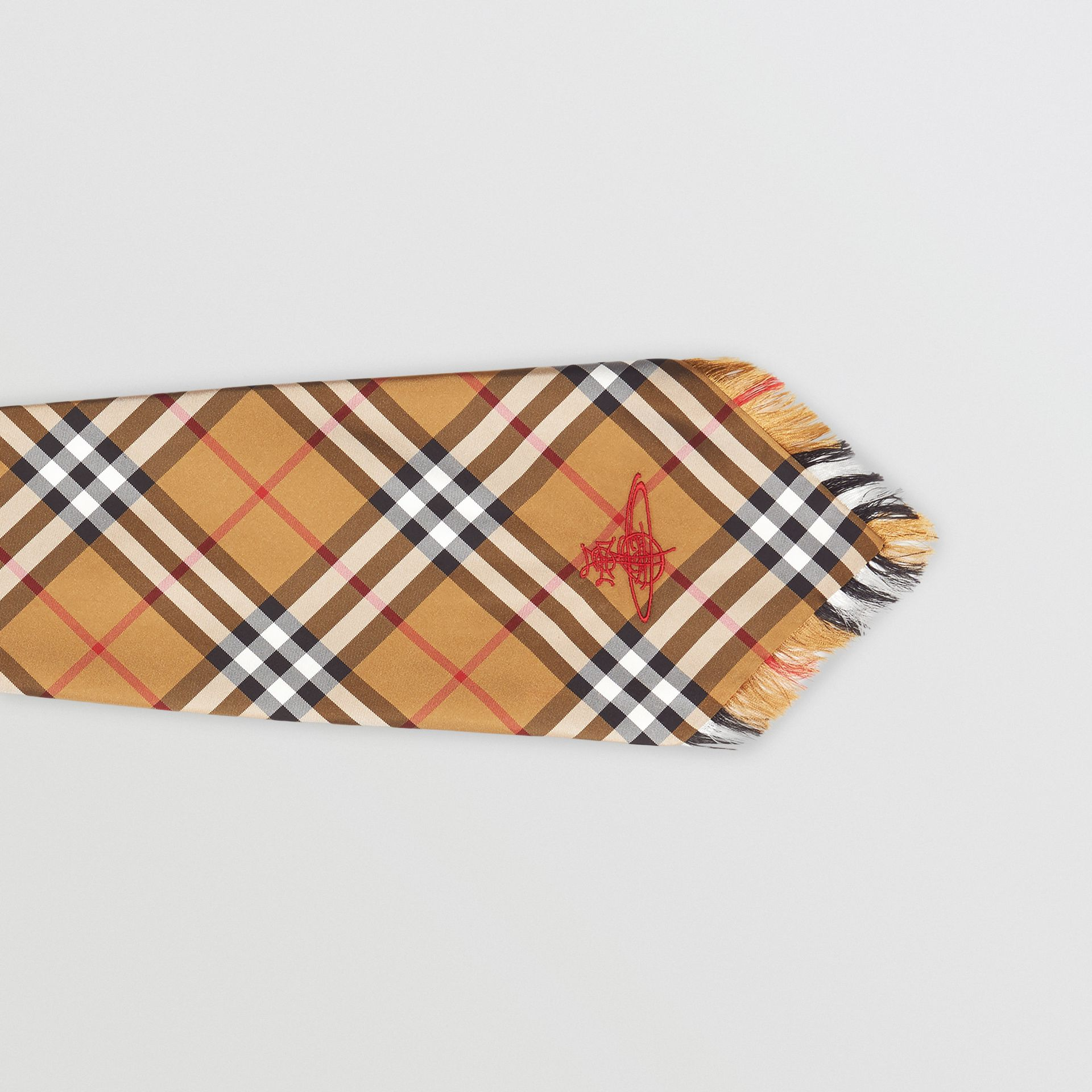 Wide Cut Vintage Check Silk Tie in Antique Yellow | Burberry United Kingdom - gallery image 1