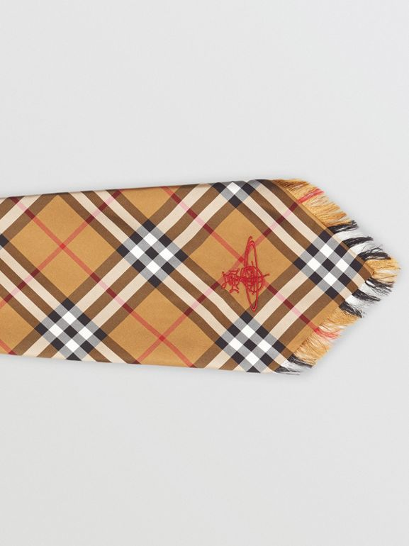 Wide Cut Vintage Check Silk Tie in Antique Yellow | Burberry United Kingdom - cell image 1
