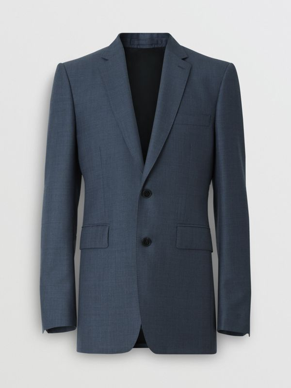 Classic Fit Wool Mohair Silk Suit in Steel Blue - Men | Burberry - cell image 3
