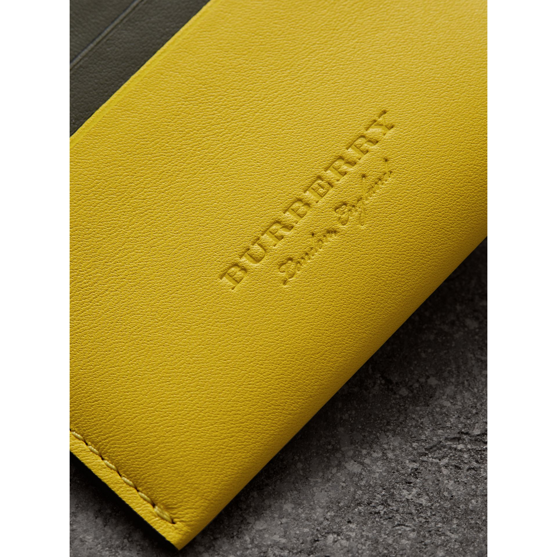 Two-tone Leather Card Case in Bright Larch Yellow | Burberry - gallery image 1