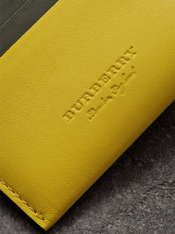 Two-tone Leather Card Case in Bright Larch Yellow | Burberry Australia - cell image 1