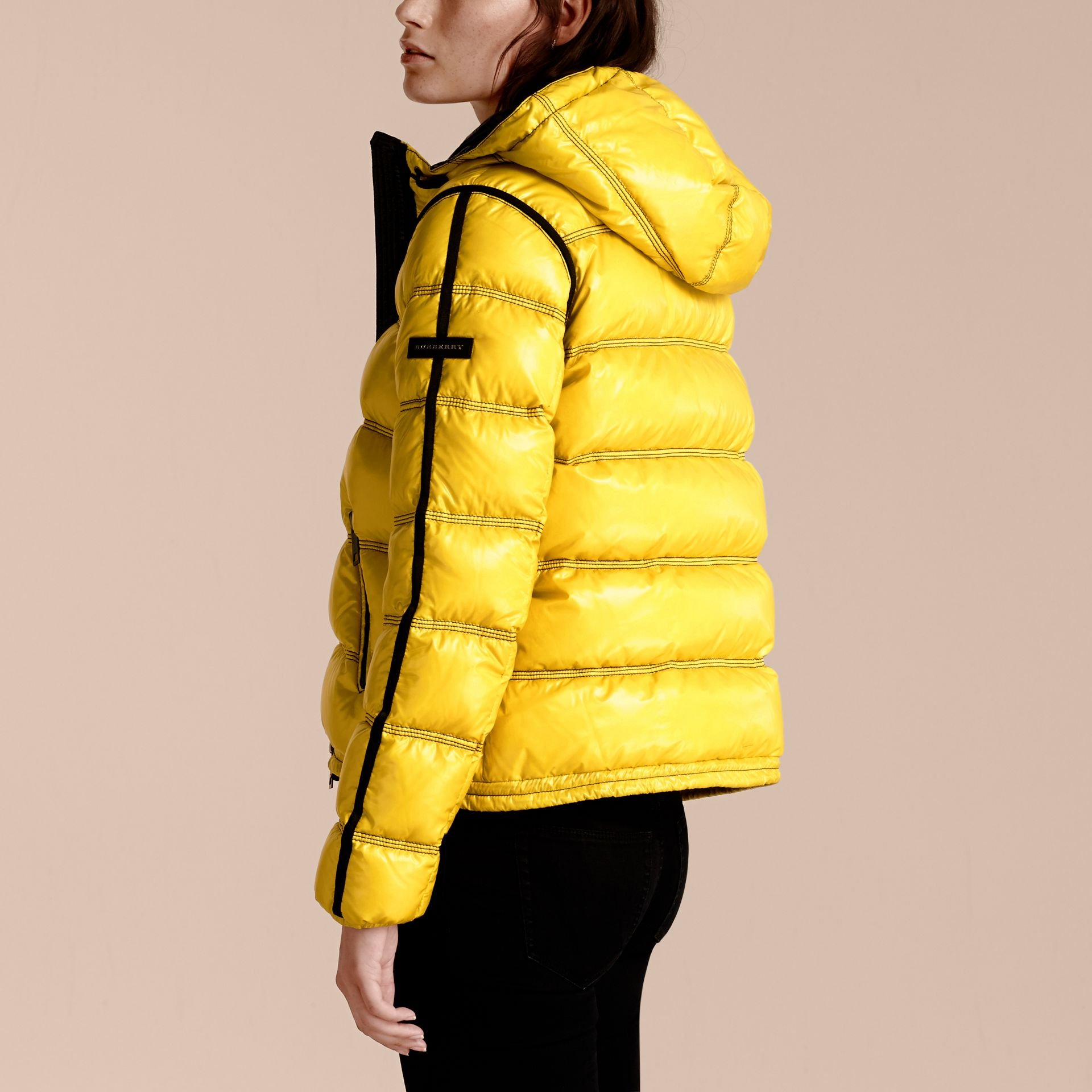 Cornflower yellow Glossy Hooded Puffer Jacket with Sporty Detailing - gallery image 3