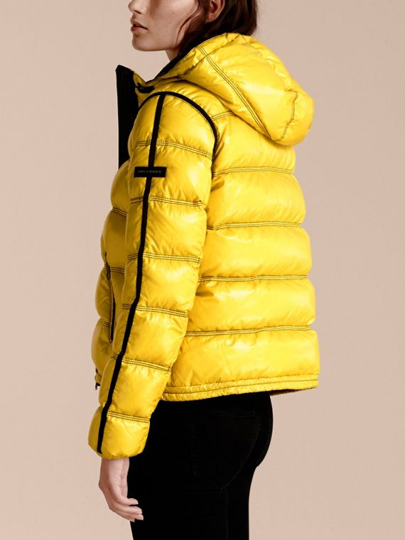 Cornflower yellow Glossy Hooded Puffer Jacket with Sporty Detailing - cell image 2