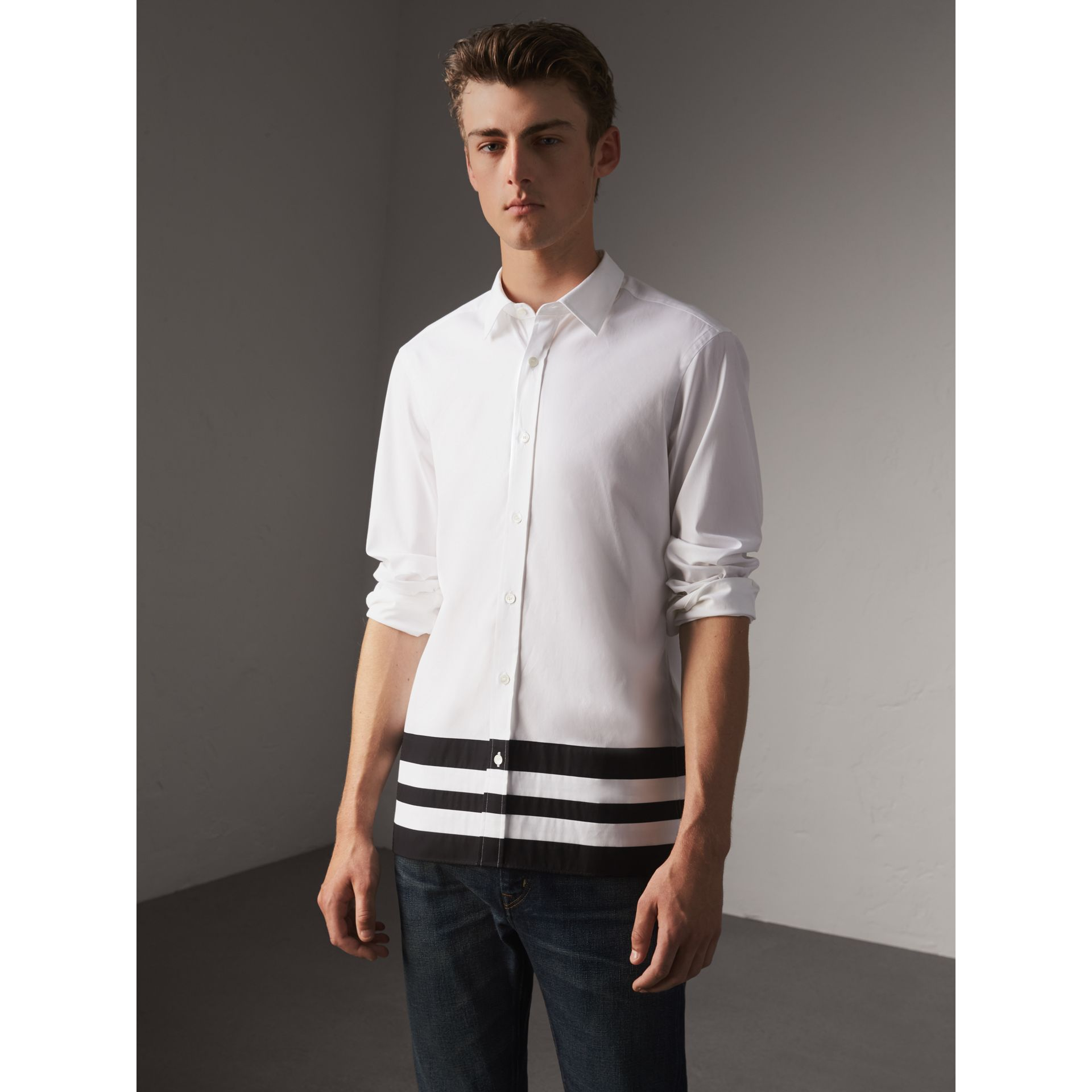 Striped Hem Stretch Cotton Shirt in White - Men | Burberry United Kingdom - gallery image 1
