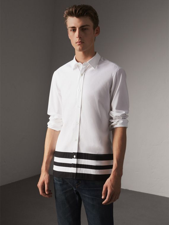 Striped Hem Stretch Cotton Shirt in White