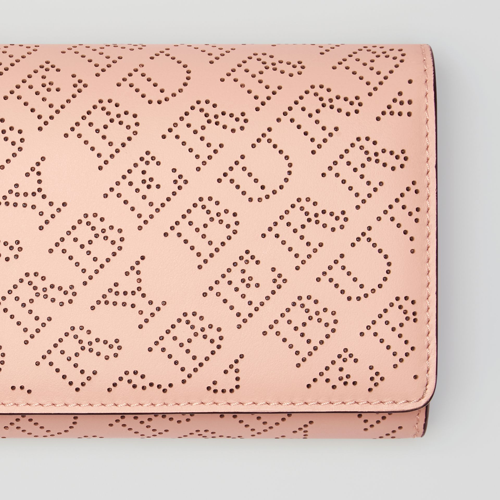 Perforated Logo Leather Wallet with Detachable Strap in Pale Fawn Pink - Women | Burberry - gallery image 1