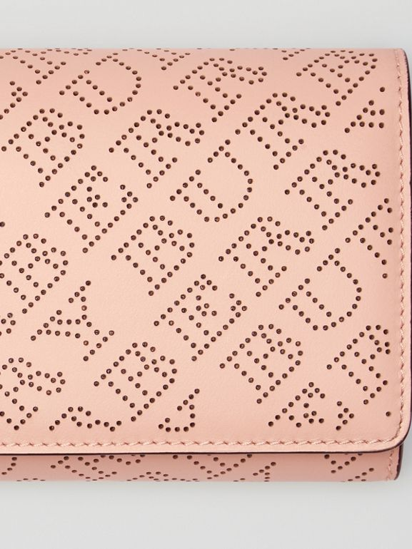 Perforated Logo Leather Wallet with Detachable Strap in Pale Fawn Pink - Women | Burberry - cell image 1