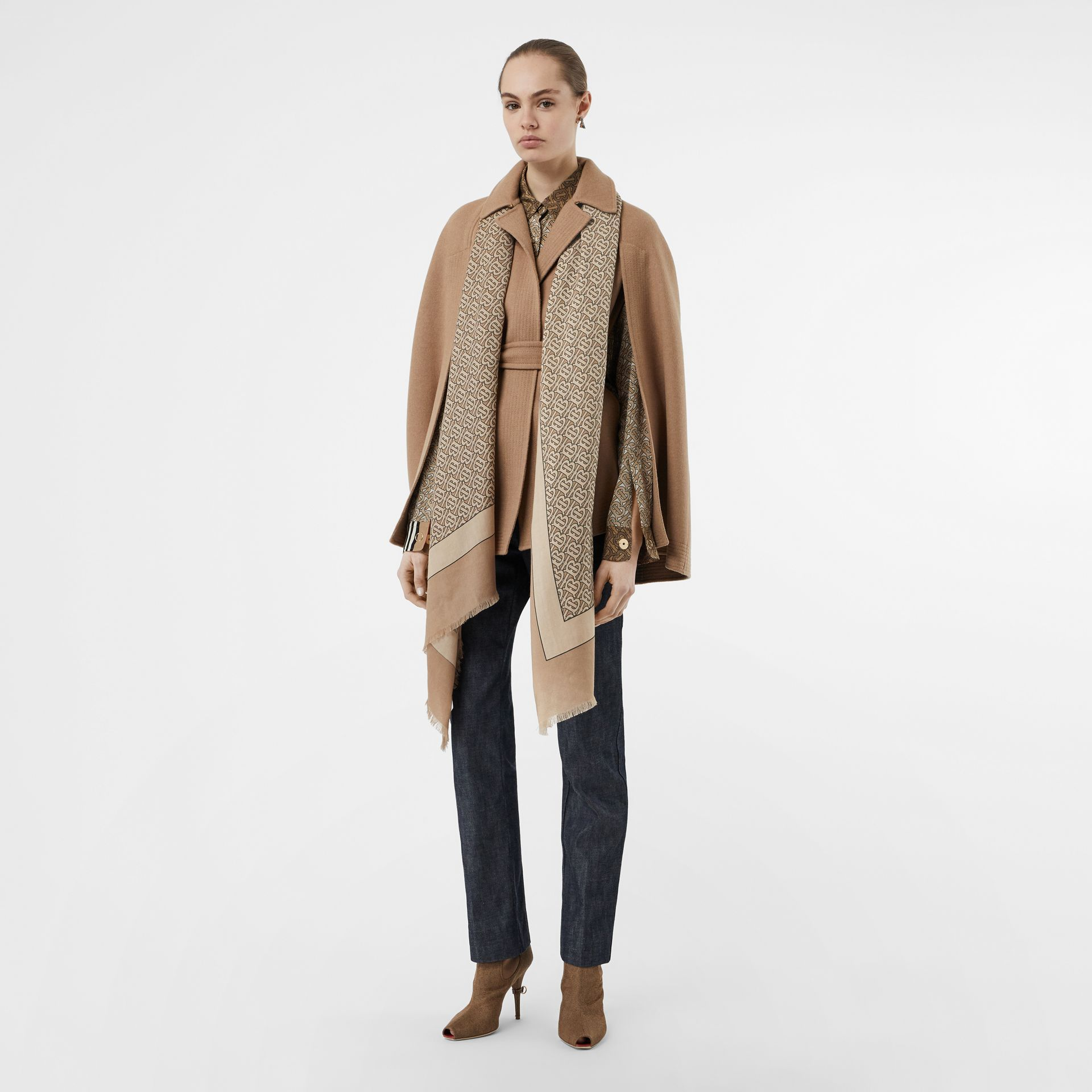 Monogram Print Lightweight Cashmere Scarf in Pale Camel | Burberry United Kingdom - gallery image 5