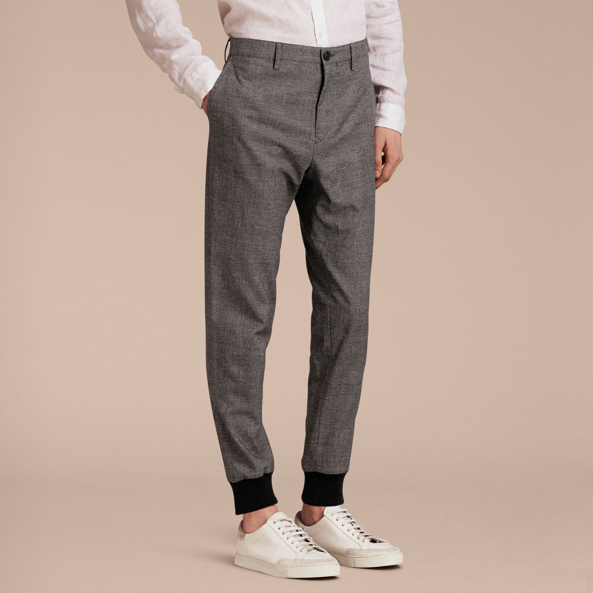 Prince of Wales Cotton Wool Trousers with Knit Cuffs - gallery image 6