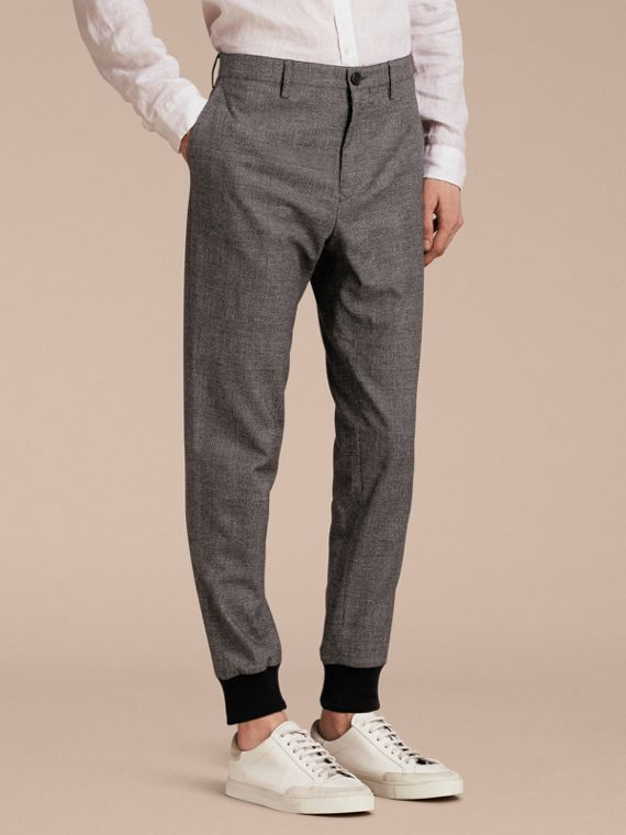Prince of Wales Cotton Wool Trousers with Knit Cuffs
