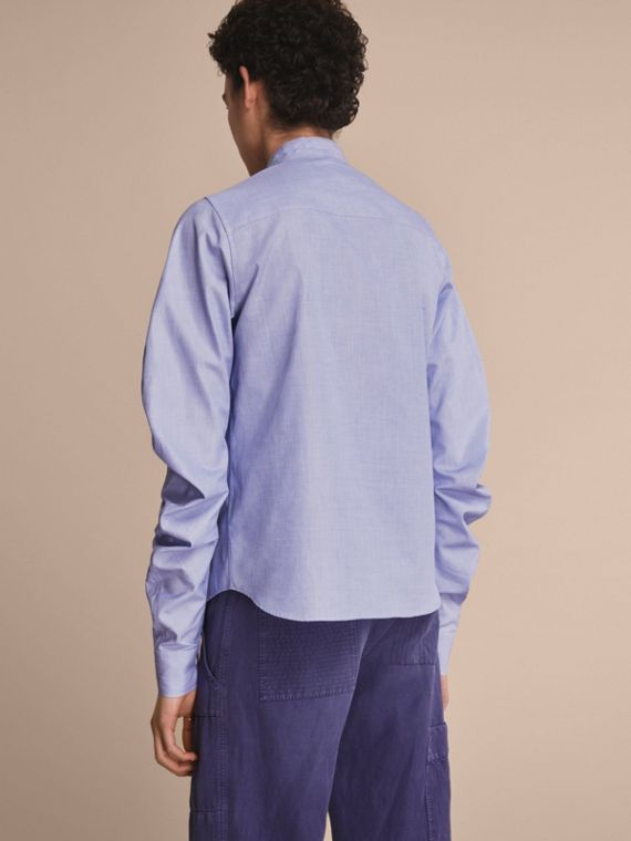 Pintuck Bib Stretch Cotton Shirt Mid Indigo - cell image 2