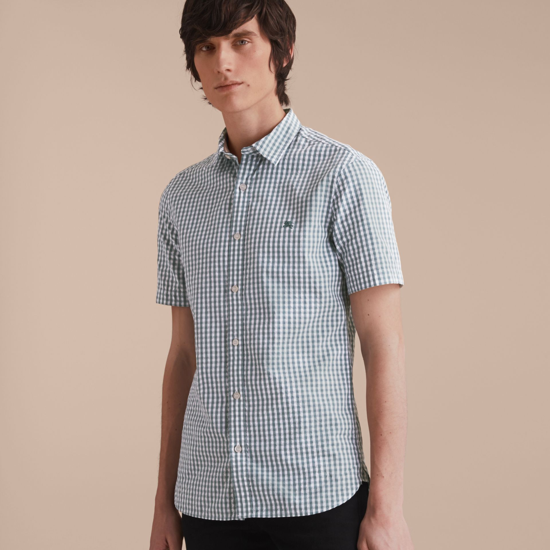 Short-sleeved Gingham Cotton Poplin Shirt in Dusty Teal Blue - Men | Burberry - gallery image 6