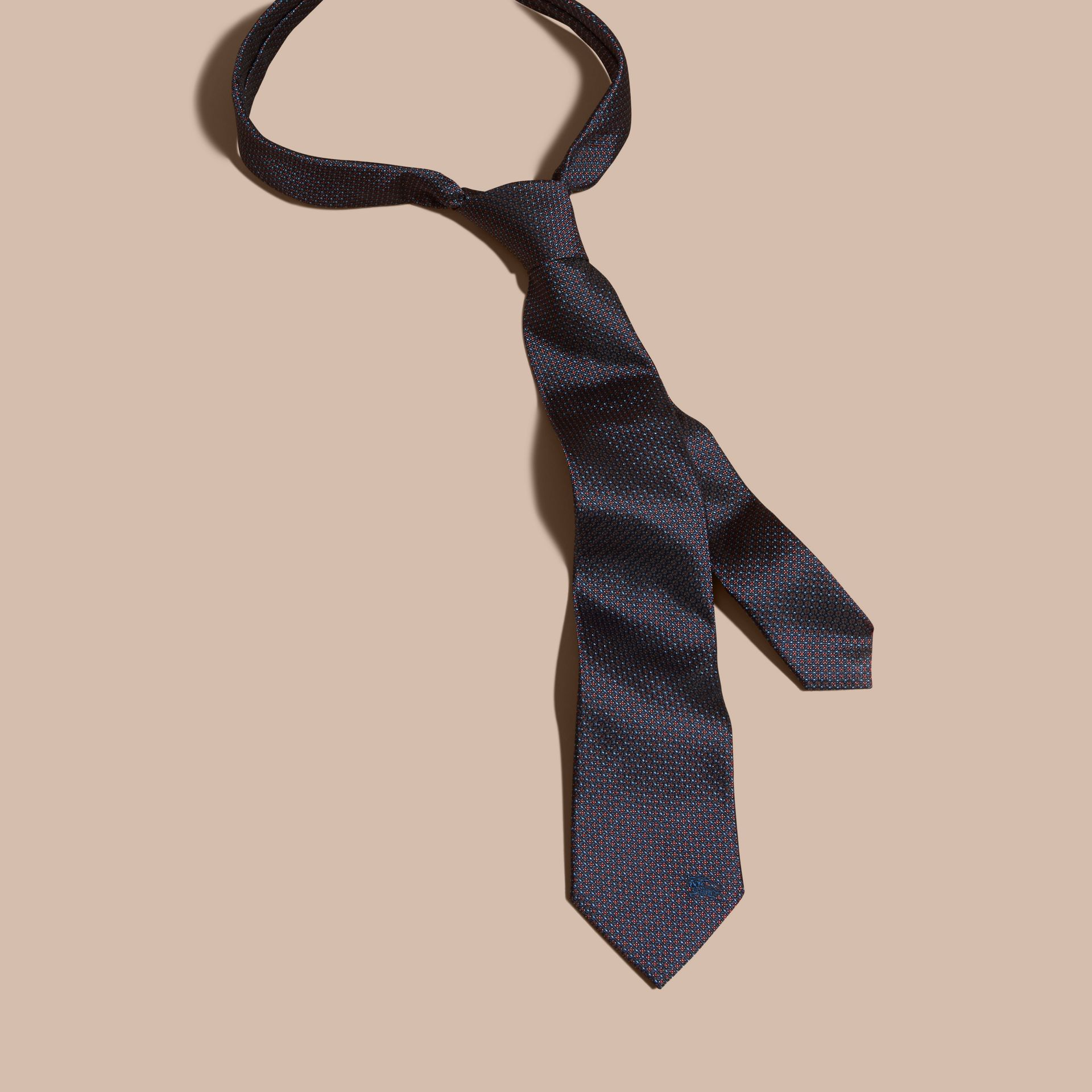 Navy Modern Cut Patterned Silk Tie Navy - gallery image 3