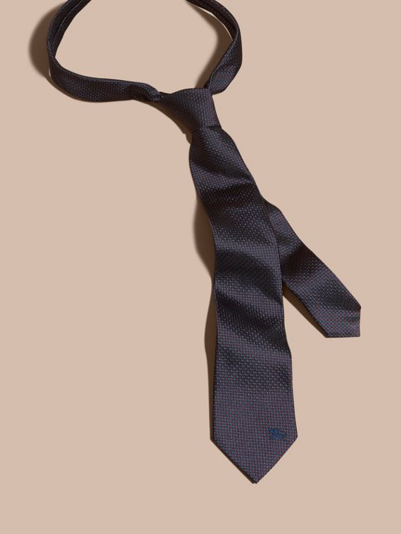 Navy Modern Cut Patterned Silk Tie Navy - cell image 2