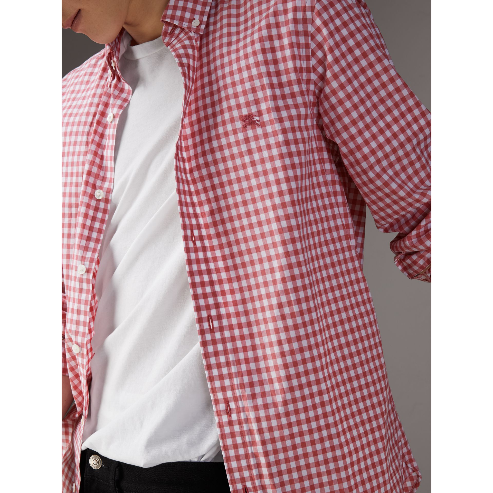 Button-down Collar Gingham Cotton Shirt in Pink Azalea - Men | Burberry United Kingdom - gallery image 1