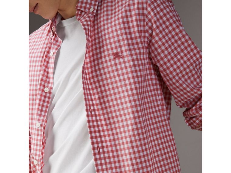 Button-down Collar Gingham Cotton Shirt in Pink Azalea - Men | Burberry United Kingdom - cell image 1
