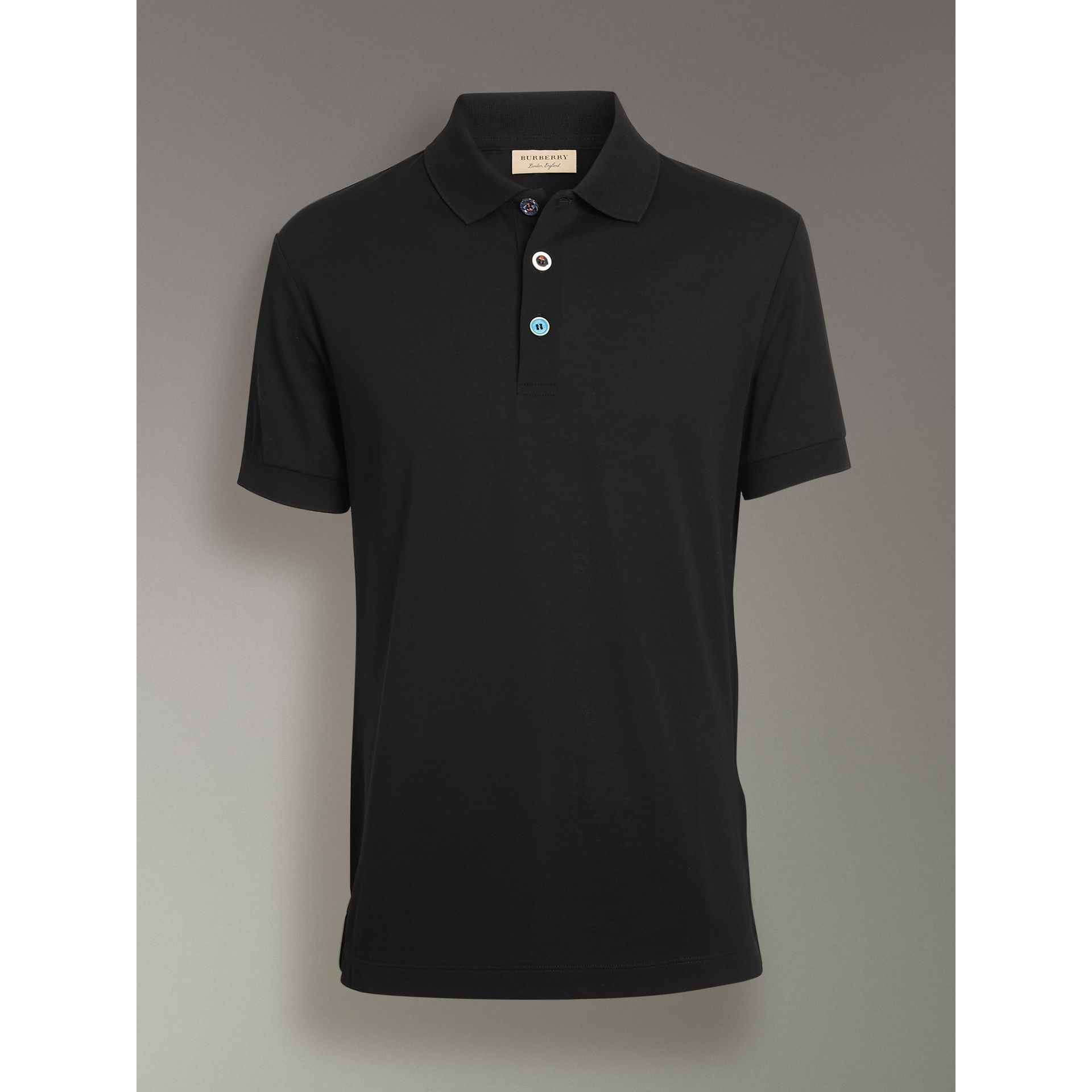 Painted Button Cotton Piqué Polo Shirt in Black - Men | Burberry - gallery image 3
