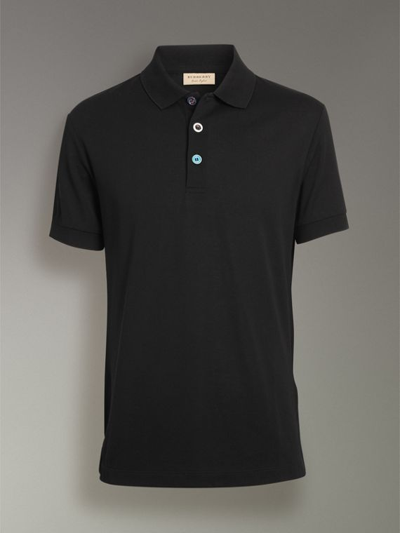 Painted Button Cotton Piqué Polo Shirt in Black - Men | Burberry United Kingdom - cell image 3