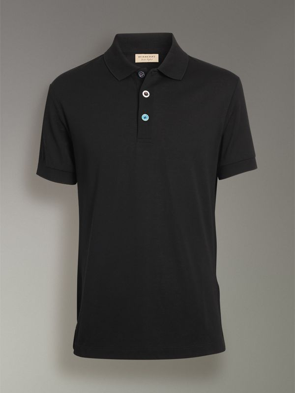 Painted Button Cotton Piqué Polo Shirt in Black - Men | Burberry - cell image 3