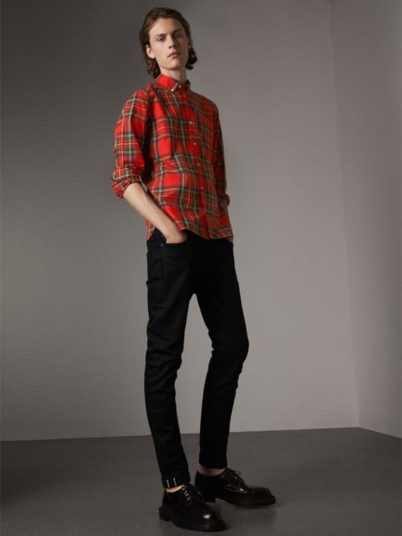 Skinny Fit Brushed Stretch Denim Jeans in Black