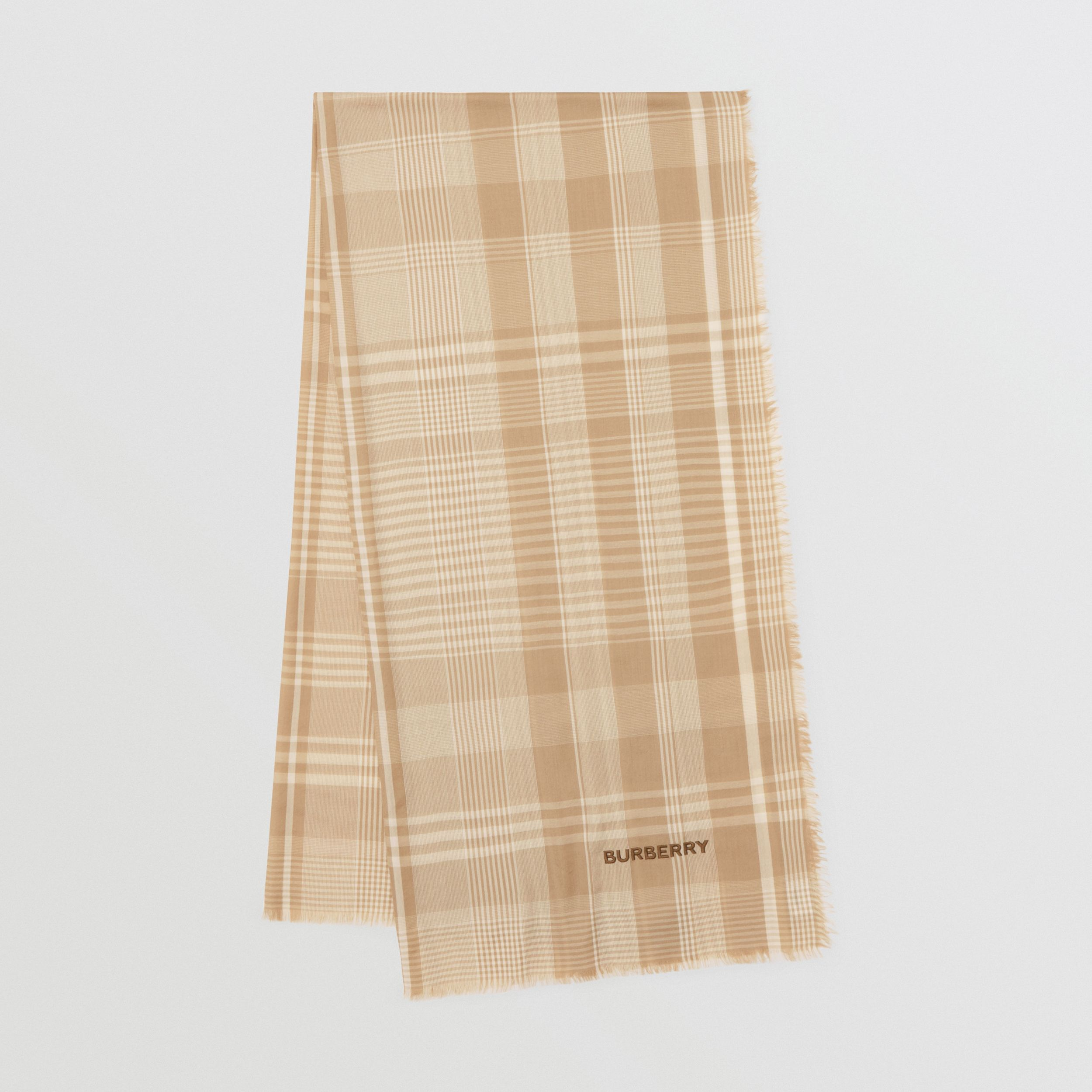 Logo Embroidered Lightweight Check Cashmere Scarf in Archive Beige/white | Burberry Hong Kong S.A.R. - 1