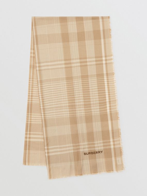 Logo Embroidered Lightweight Check Cashmere Scarf in Archive Beige/white