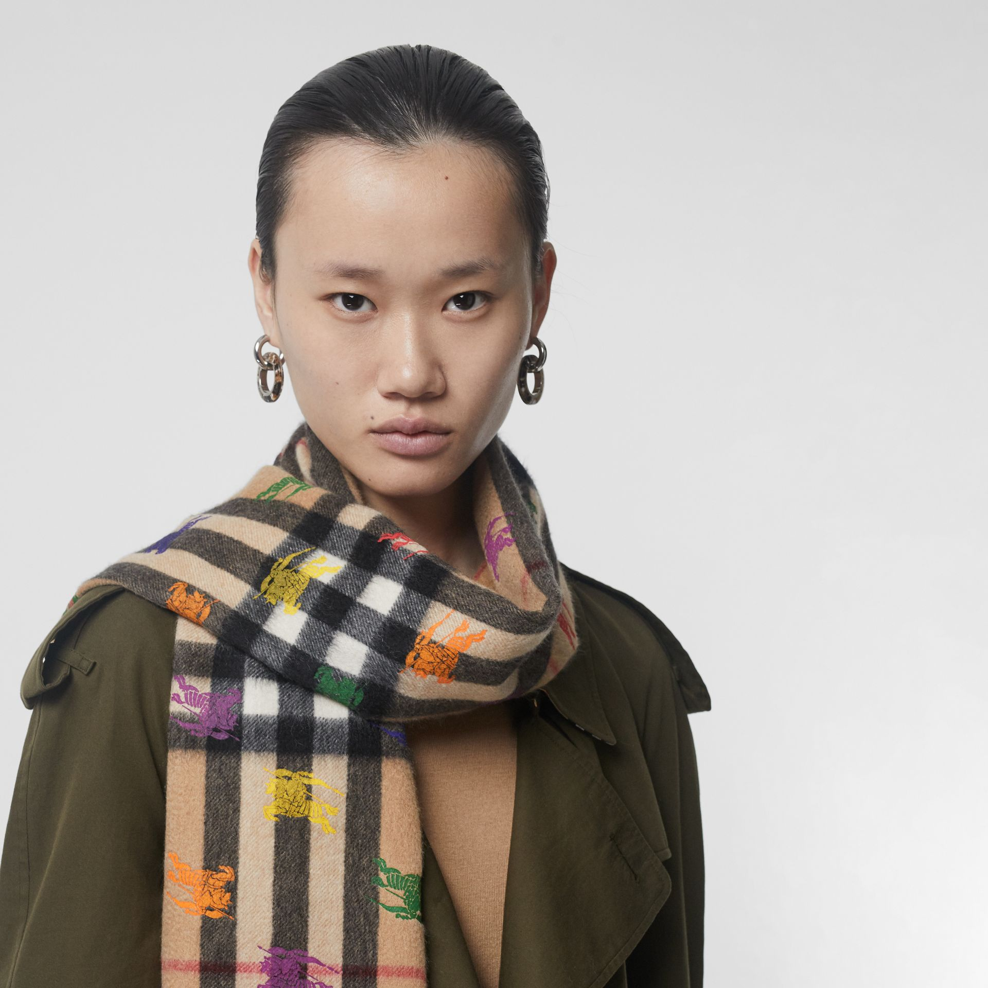The Classic Check Cashmere Scarf in EKD Print in Camel | Burberry United States - gallery image 3