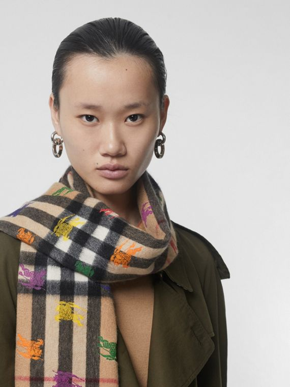The Classic Check Cashmere Scarf in EKD Print in Camel