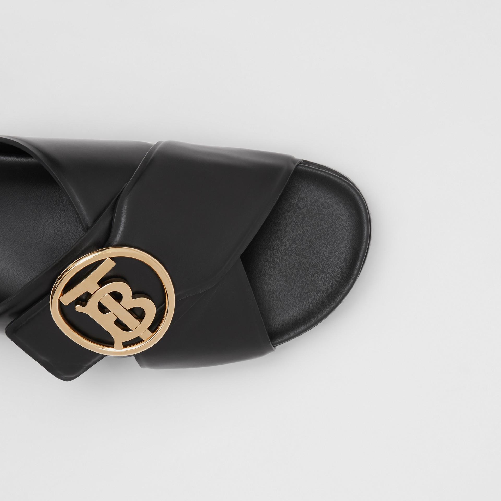 Monogram Motif Leather Slides in Black - Women | Burberry - gallery image 1